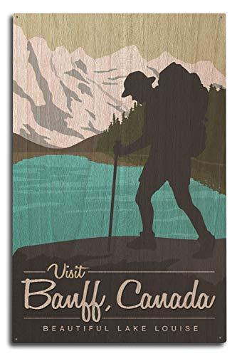 Visit Banff Kanada - Lake Louise - Hiker Vector, Holz, Multi, 10 x 15 Wood Sign