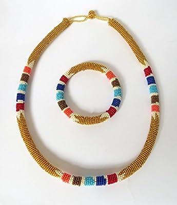 Parure collier et bracelet en perles Sud Africain Zoulou - Doré