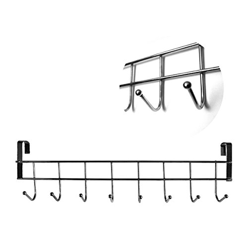 Over the door hanger - Stainless Steel Wall Hanger Rack to Hanging Coat, Towel, Bag, Hat & Robe - Suitable for Household , Hotel, Bathroom & Kitchen - with 8 Hooks