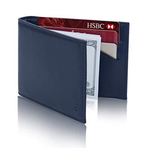 Lavievert Herren Geldbörse mit RFID-blockierender schmaler minimalistischer Vordertasche, Echtleder, Kreditkartenfach, Geldklammer, Blau