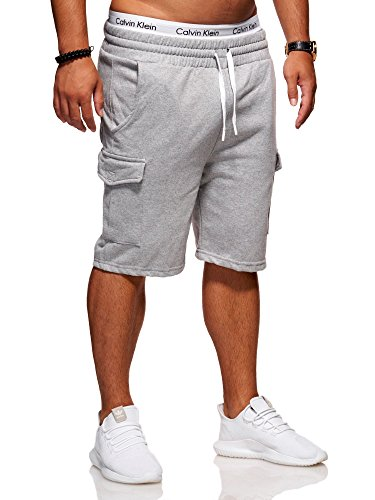 Ombre-Eight Herren Sweat-Shorts Cargo Bermuda Chino Kurze Hose J-110 (XX-Large, Mod. 2 - Grau)