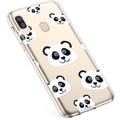 Uposao Kompatibel mit Samsung Galaxy A40 Hülle Silikon Transparent Dünn Durchsichtige Schutzhülle Klar TPU Handyhülle Handytasche Clear Case Cover Stoßfest Anti-Scratch,Cool Panda Strass-panda