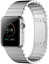 Sanday Apple Watch Correa,para Series 3 /Series 2 /Series 1 Correa Reemplazo Correa de Acero Inoxidable Reemplazo de Banda de la MuñecaT con Metal Corchete para Apple Watch 42mm Silver