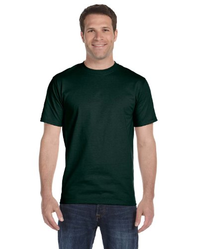 Hanes Mens Double-Needle Stitched Sleeves Cotton Tee Deep Forest