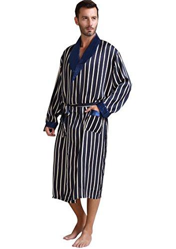 Herren Seide Bademantel Schlafanzug Blau Large (Seide Herren Bademantel)