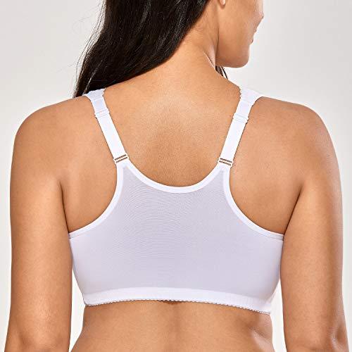 Delimira Damen Große Größen BH - Vorderverschluss,innen gepolstertes Brustband Weiss 105C(46C) - 2