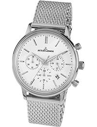 Jacques Lemans Unisex-Armbanduhr Nostalgie Chronograph Quarz Edelstahl N-209C
