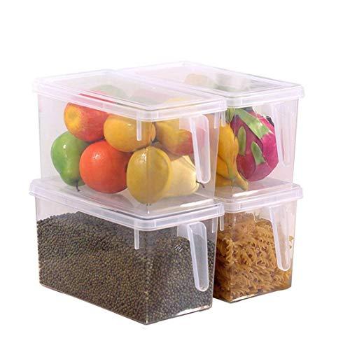 Kurtzy Set 4 Contenedores Transparentes para Cocina Recipientes con Tapa Refrigerador Congelador - Alimentos Preparados, Alacena y Contenedor de Frutas/Estante/Cajón 24,5cm x 12,5cm x 15,5cm