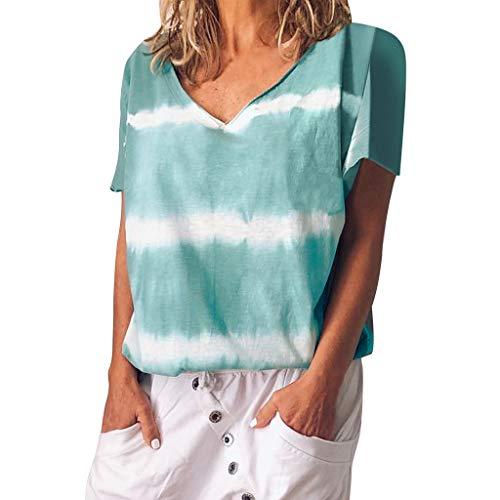 n Bluse V-Ausschnitt Kurzarm T-Shirt Farbverlauf Bluse Gestreifte Tunika Frauen Chic Langarm Lose Tops Bluse Lässige Pullover Top ()