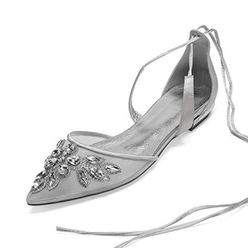 AIMISHOES Elegante Braut Hochzeit Flache Schuhe Spitzen zehenriemen mit Spitze knöchelriemen kristall mesh Abendkleid Wohnungen Party Prom Girl Dance,Silber,41 - Kristallen Abendkleider Mit