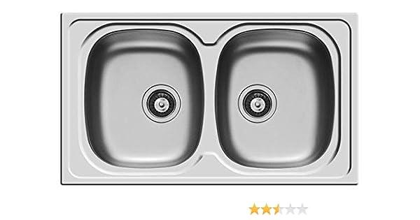 lavello pyramis lavandino lavabo 2 vasche sparta 86x50 acciaio inox con piletta da 35