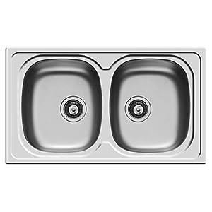 """Pyramis – Modelo Sparta – Fregadero, lavabo de 2cubetas (86 x 50 cm), de acero inoxidable, con desagüe de 3,5"""" (8,9 cm)"""