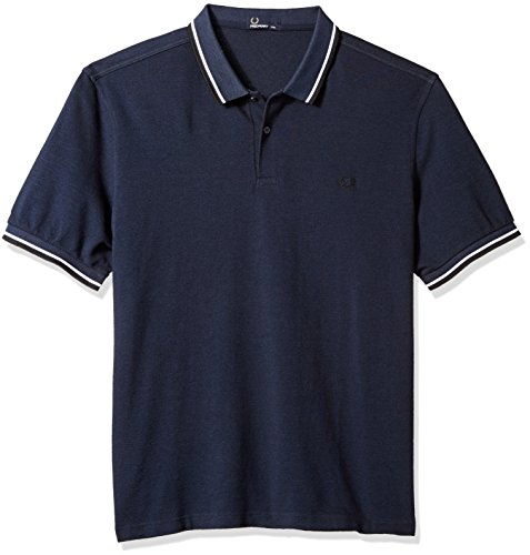 Fred Perry Herren T-Shirt Fp Twin Tipped Shirt, Blau (SERV BLU BLK OXF), S - Blk-center