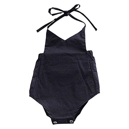 Zhuhaixmy Cute Baby Säugling Mädchen Sommer Ein Stück Kleider Straps Strampler Halter Rückenfrei Bodysuit Volltonfarbe Overall Sonnenanzug Outfits