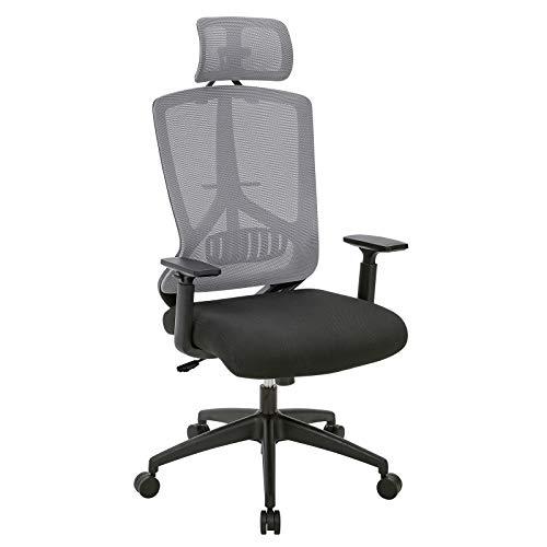 SONGMICS Bürostuhl mit Kippmechanismus, höhenverstellbare Armlehnen, ergonomischer Drehstuhl mit Lendenwirbelstütze, verstellbare Kopfstütze, Belastbarkeit 120 kg, OBN53BG, 45-55 cm