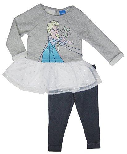 Disney Gefrorene M?dchen ELSA Charakter Tunika mit Tutu Legging 2Pc Set (Heather Grey, 2T)