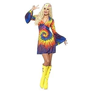 Smiffys, Ladies' 60s Schnurbatik Costume, Dress, Hippie, Size: L (16-18), 20741