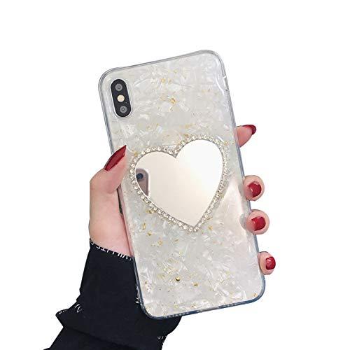 QPOLLY Kompatibel mit iPhone XS Max Hülle Silikon Marmor Glitzer Bling Kristall Schutzhüll [Glänzend Diamant Spiegel] Luxus Mirror Case Handyhülle für Frauen Mädchen Ultradünn Soft Zurück Hülle,Gold -