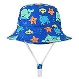 Happy Cherry - Verano Gorro de Sol para Bebés Niños Ajustable para Viaje Playa Sombrero de Pescador Infantil de Algodón Bucket Hat de Cartoon - Ballena - 52CM/3-5Años