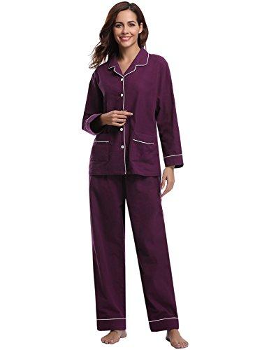 Aibrou Damen Schlafanzug Baumwolle Lang Pyjama Winter Nachtwäsche Hausanzug mit Knöpfeleiste Violett S
