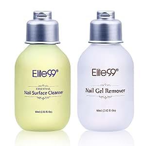 elite99 2pcs kit de dissolvant gel ongles et nettoyant ongles semi permanent 80ml. Black Bedroom Furniture Sets. Home Design Ideas