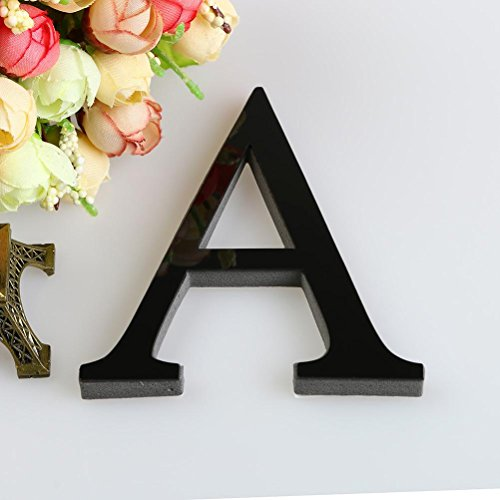 3D DIY 26 Letters Mirror Sticker, Indexp Creative Symbol Acrylic Creative Home Decorative Art Window Wall Decals (Black, A)