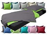 npluseins Bettwäsche - Kombi aus 2 Uni-Farben - 100% Baumwolle 705.1316, anthrazit-grün