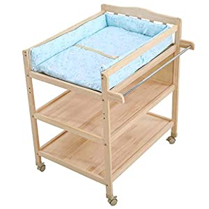 YYLVM Wooden Baby Dresser Newborn Bathing Station Large Storage Space Baby Bath And Dresser Foldable Dressing Table   13