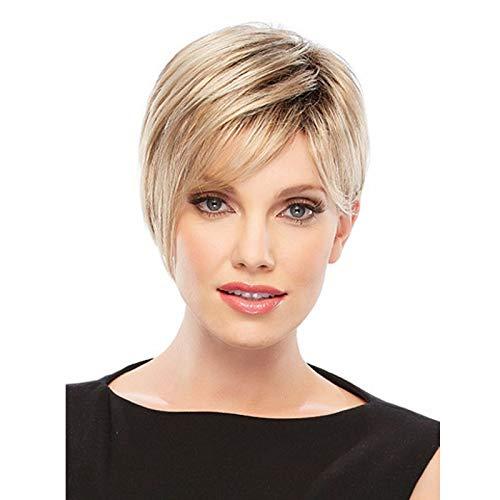 Peluca de pelo rubio corto, recto, natural, estilo Bob para mujer, corto, pelo dorado, encantador, como...