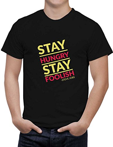 PosterGuy Men's Black Cotton T-Shirt | stay hungry stay foolish steve jobs Designed by: Sawariya Creatives  available at amazon for Rs.699