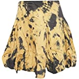 Mogul Interior Womens Bohemian Mini Skirt TIE DYE Cotton Yellow Hippie Stylish Skirts