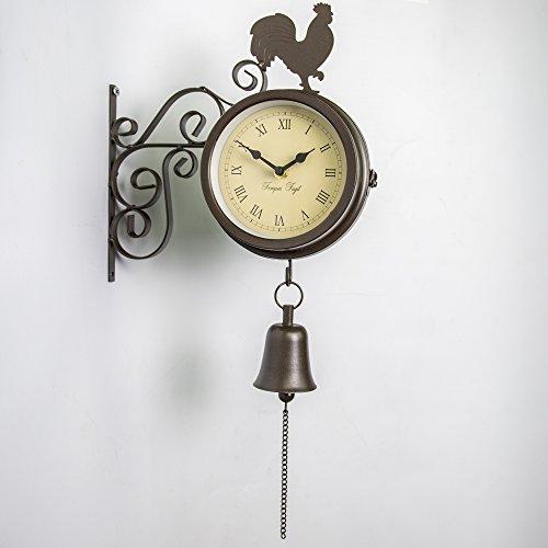 Über Zeit Halterung montiert Hahn und Glocke Garten Outdoor Uhr und Thermometer-47cm (18¾ in)