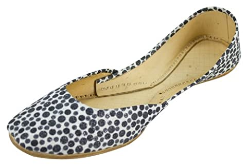 Womens Black-White Polka Dot Casual Leather Indian Khussa Shoes Pumps-5uk