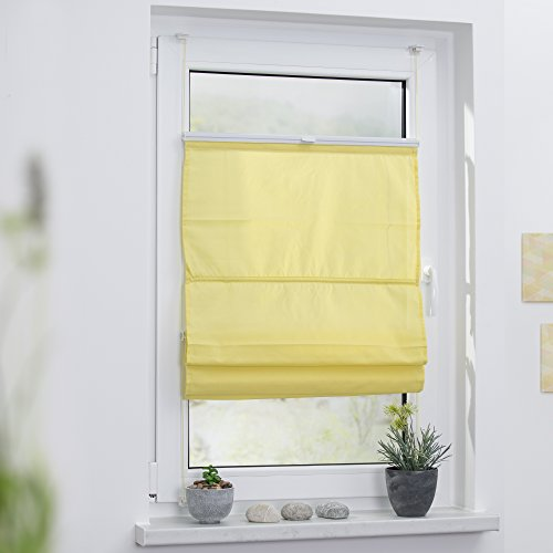 Lichtblick RTV.060.130.11 Raffrollo Klemmfix TOP, ohne Bohren, verspannt – Gelb 60 cm x 130 cm (B x L) - 2