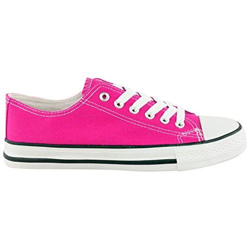 MYSHOESTORE  Canvas, Damen Sneaker Weiß weiß Fuchsia - Pink