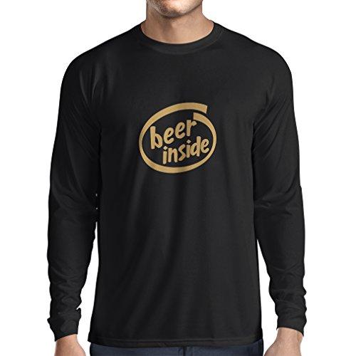 Maglietta a manica lunga da uomo Beer Inside - logo divertente della birra, regalo freddo Nero Oro
