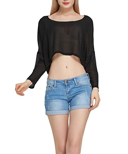Smile YKK Sexy Durchsichtig Damen Rundhals Langarm Bikini Deckung Cover Up Shirt T-shirts Oberteil Pullover Top Bauchfrei Schwarz