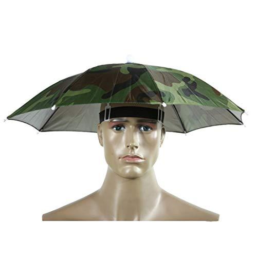 YUN MY GIRL Head-Mounted Schirmmütze im Freien Single-Layer Sonnenschutz Schirmmütze Winddicht Anti-UV-Taschenschirm Fangkappe/Durchmesser 69 / 78cm (Größe : Diameter 78 cm)
