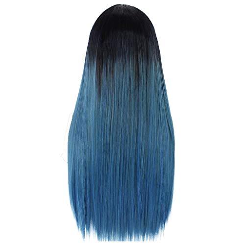 Dtuta HaarverläNgerungen PerüCken Fasching Damen Blond Haarteile Blaues Langes Glattes Haar Mit Farbverlauf, Rollenspiele, Partykarneval, ()