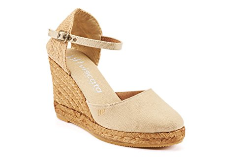 VISCATA Satuna Ankle-Strap, Closed Toe, Classic Espadrilles with 3-inch Heel Made in Spain Beige - beige