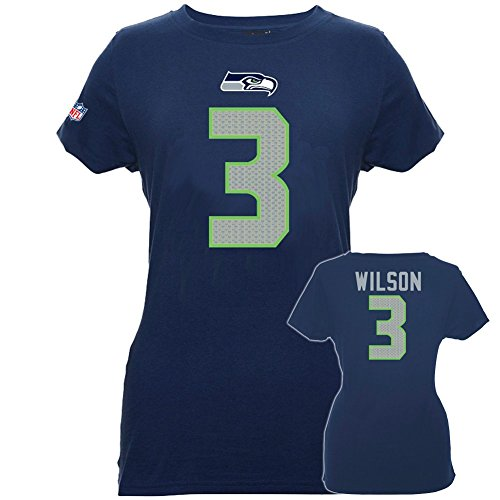 NFL Football T-Shirt Trikot Damen Women SEATTLE SEAHAWKS Russell Wilson #3 navy in M (MEDIUM)
