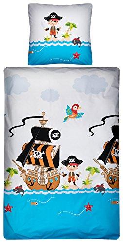 Aminata Kids – Bettwäsche 135x200 cm Kinder Jungen Pirat Baumwolle Reißverschluss Blau Rot Weiß Seeräuber Piratenschiff Kinderbettwäsche 2-teiliges Bettwäscheset Ganzjahres Bettbezug (Piraten Junge)