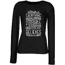 lepni.me Camisetas de Manga Larga Para Mujer Jesucristo: Todo ES Posible Para Quien Cree: Religión Cristiana, Fe, Biblia, Pascua, Resurrección
