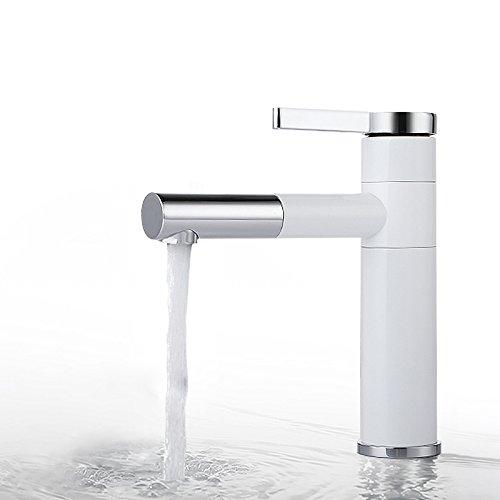 Homelody - Elegante Einhebel-Waschtischarmatur, ohne Ablauf, 2-facher Schwenkauslauf 360°, Weiß-Chrom