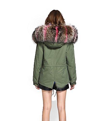 Damen PARKA XXL Kragen aus 100% ECHTPELZ ECHTFELL Jacke Mantel KURZ Khaki 9 Farben Rosa/Natur