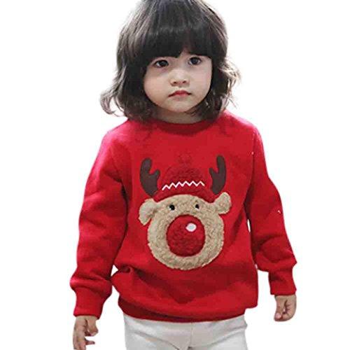 Kolylong® Sweatshirt Mädchen 1 PC (0-4 Jahre alt) Baby Mädchen Junge Weihnachten Sweatshirt Herbst Winter Verdickte Pullover Warm Langarmshirt T-Shirt Pulli (Rot, 90CM(12-24 Monate))