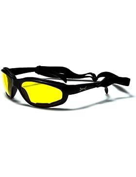 Choppers Slim-line Moto occhiali da sole neri / Occhiali - lenti ambra gialla
