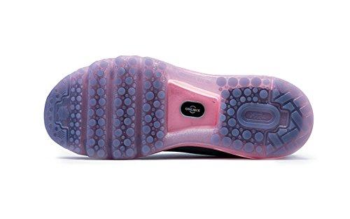 Onemix Damen Air Laufschuhe Sportschuhe mit Luftpolster Turnschuhe Leichte Schuhe,Gr 36-43 Dunkelgrau / rosa