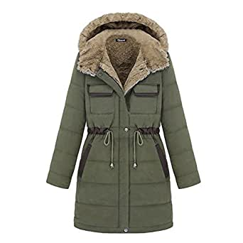 Women's cotton-padded clothes Winter Coat Hood Parka Overcoat Long Jacket (Size S:UK6, Green)