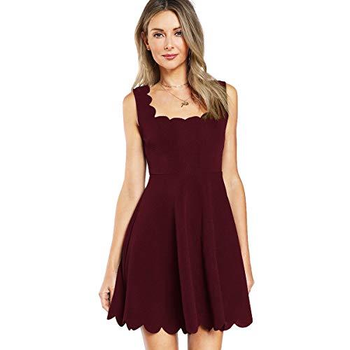 SOLY HUX Damen Mini Plissee Kleid Elegant Rückenfrei A Linie Ärmelos Ballonkleid mit Reißverschluss Falten Kleider Bordeaux L -
